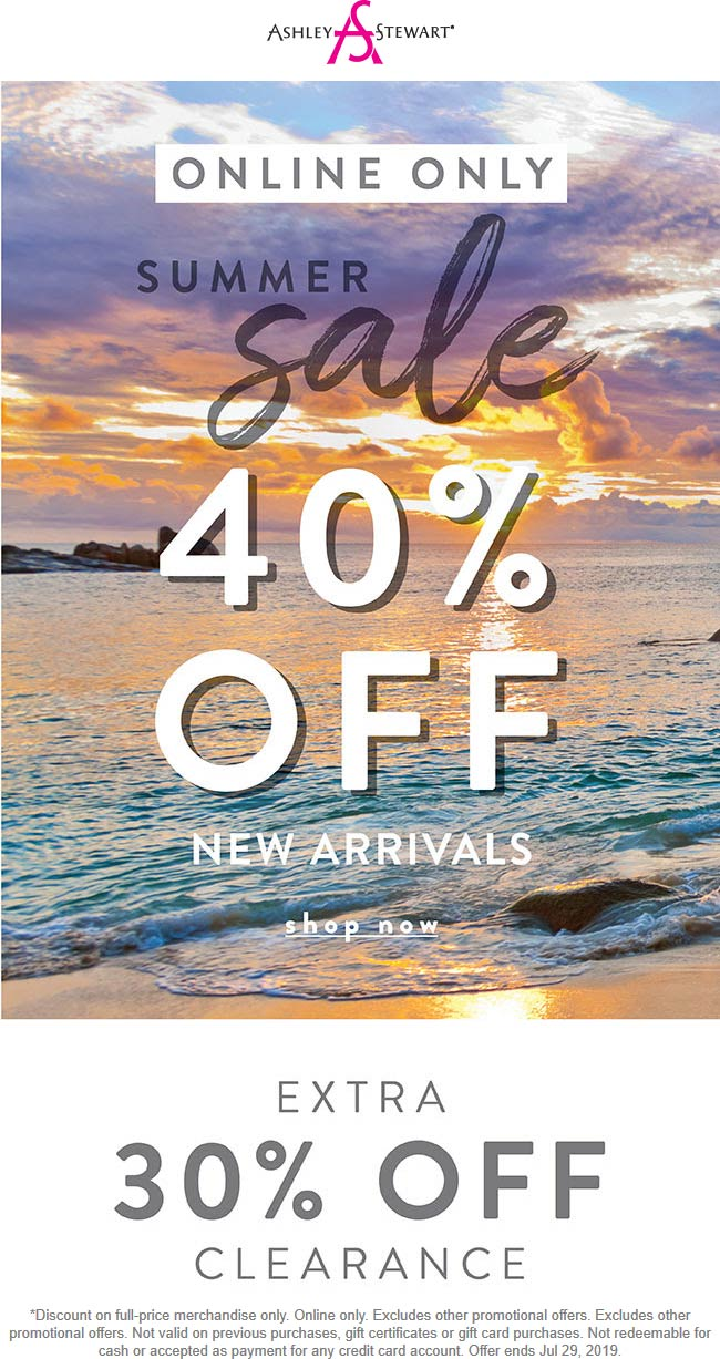 AshleyStewart.com Promo Coupon 40% off new arrivals online today at Ashley Stewart