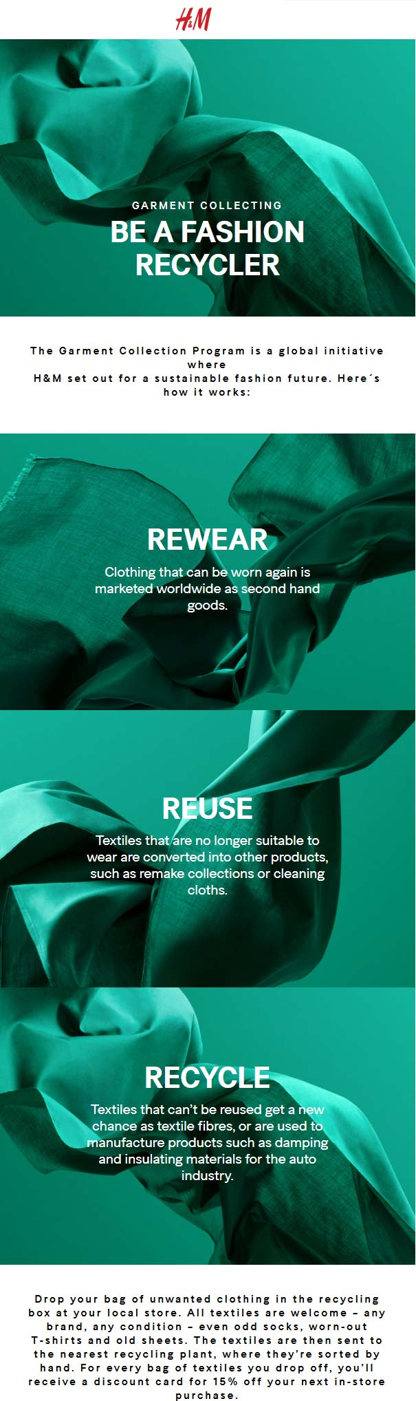 H&M Coupon August 2020 Recycle old gear for 15% off at H&M