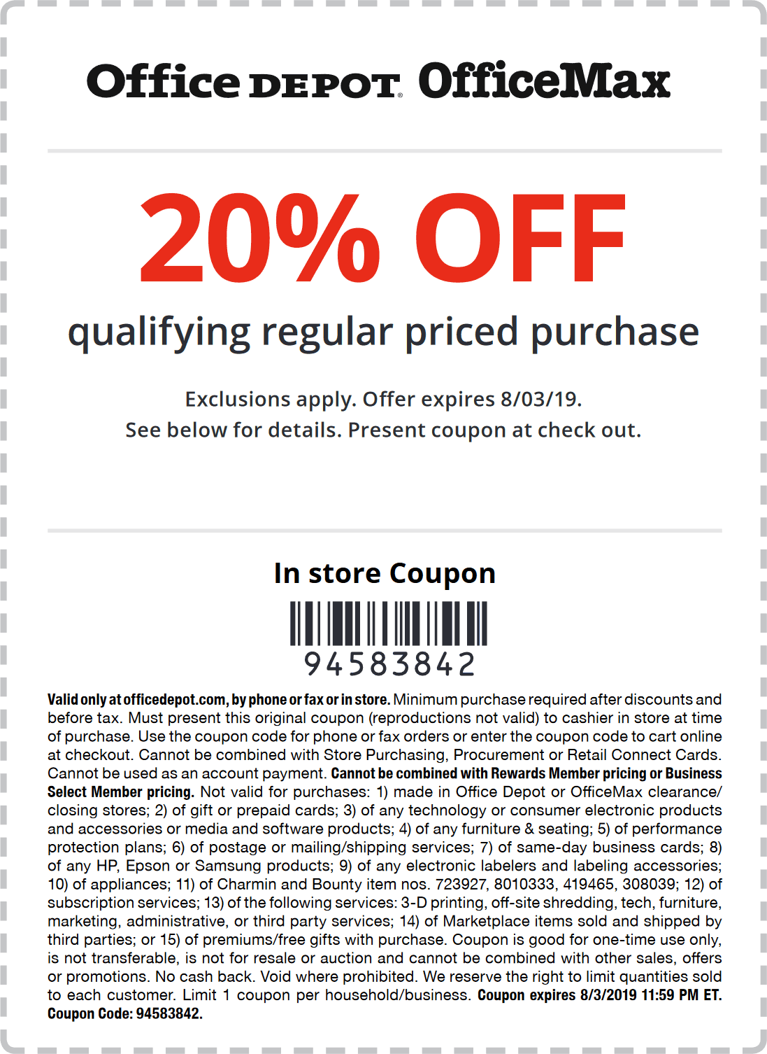 Office Depot Coupon August 2019 20% off at Office Depot & OfficeMax, or online via promo code 94583842