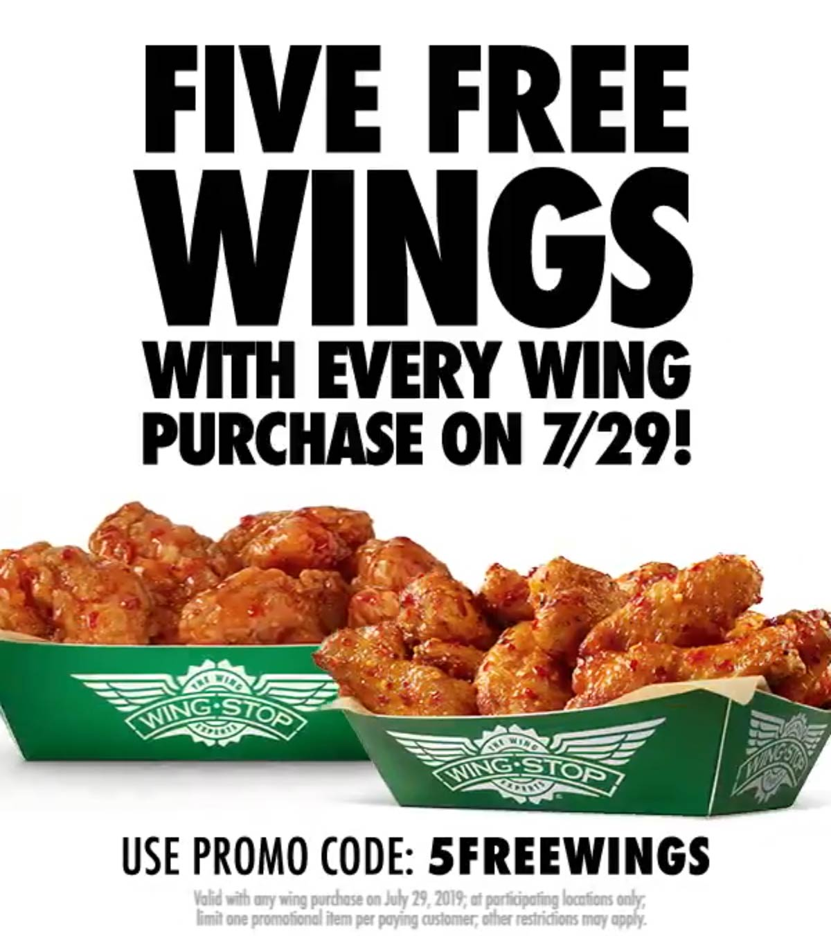 Wingstop Coupon November 2019 5 free wings with your wings today at Wingstop