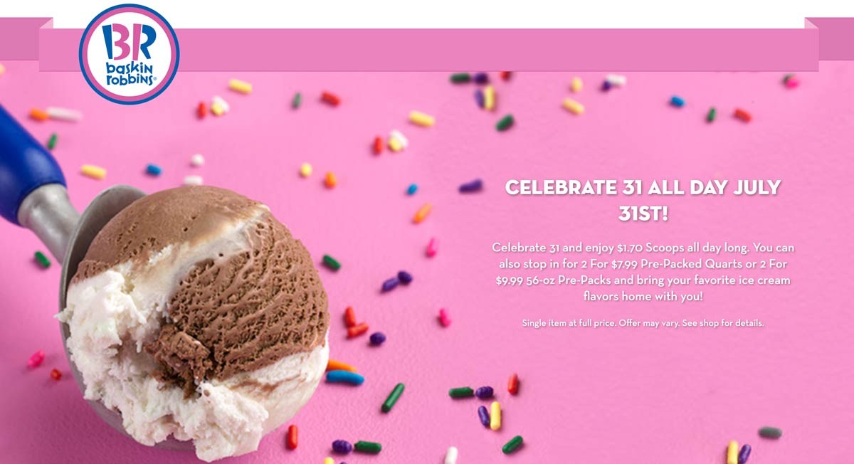 Baskin Robbins Coupon September 2019 $1.70 ice cream scoops Wednesday at Baskin Robbins