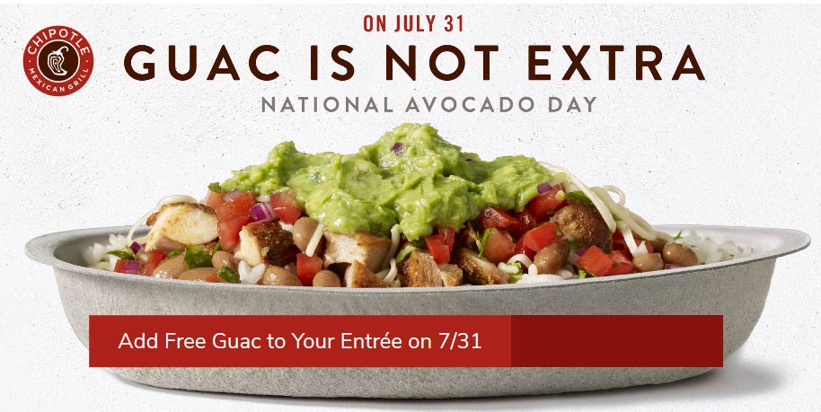 Chipotle Coupon August 2019 Free guacamole Wednesday at Chipotle restaurants