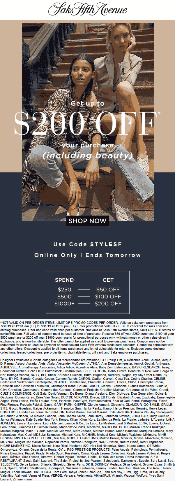Saks Fifth Avenue coupons & promo code for [October 2020]