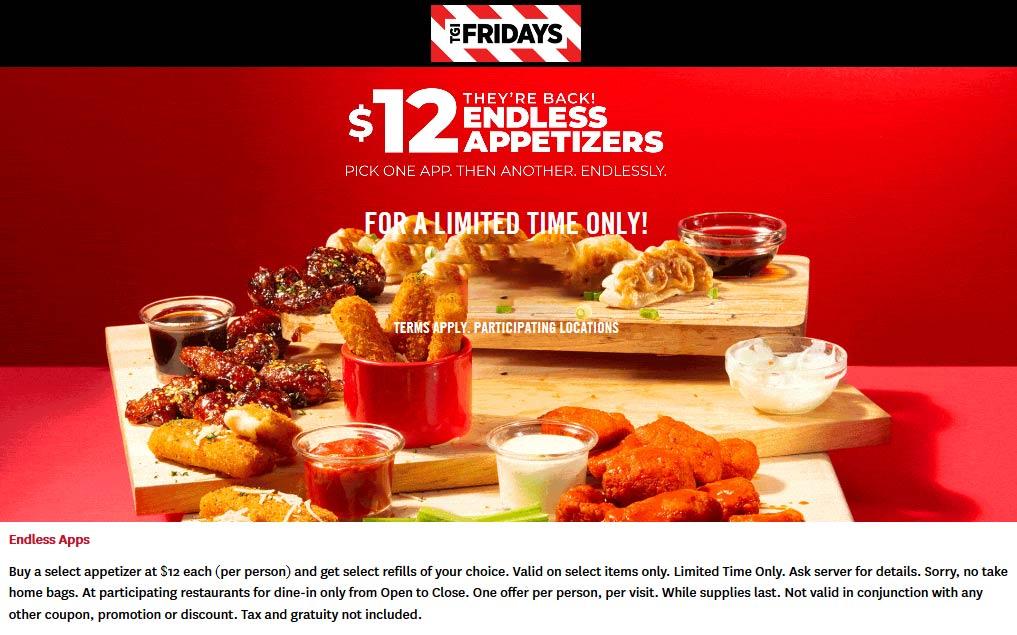 TGI Fridays Coupon October 2019 $12 endless appetizers are back at TGI Fridays