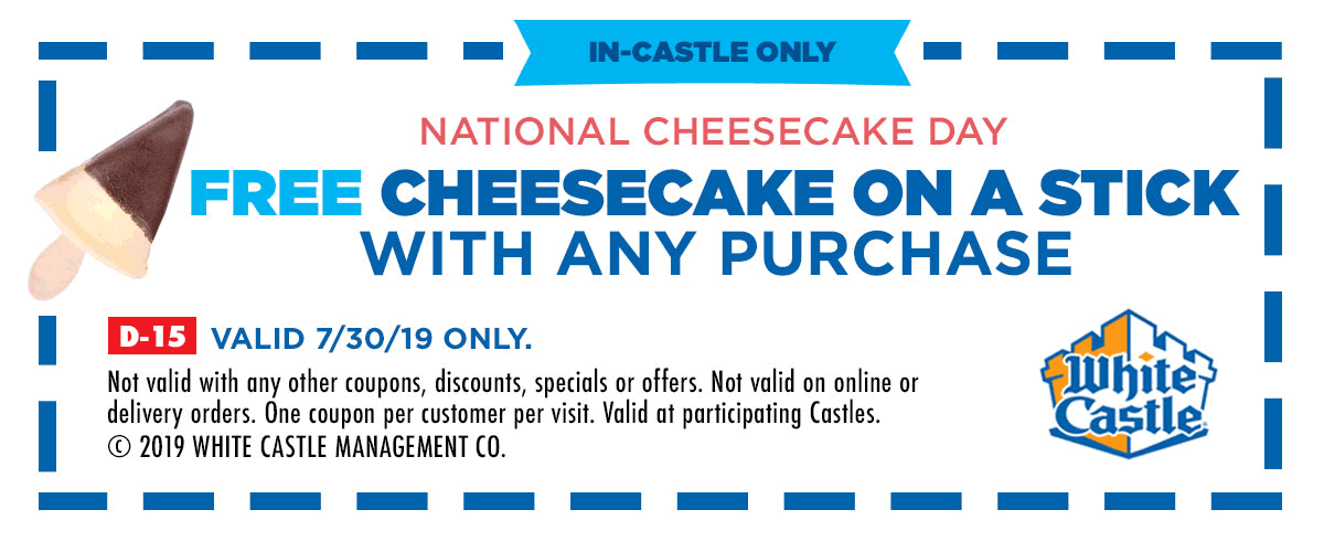 White Castle Coupon August 2019 Free cheesecake on a stick with any order today at White Castle restaurants