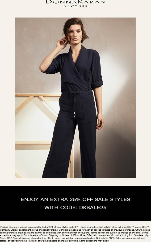 Donna Karan Coupon November 2019 Extra 25% off sale items at Donna Karan, or online via promo code DKSALE25