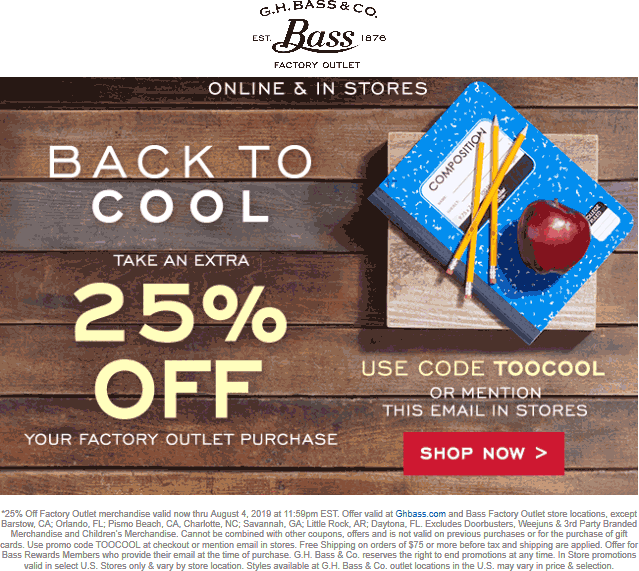 Bass Factory Outlet coupons & promo code for [September 2020]
