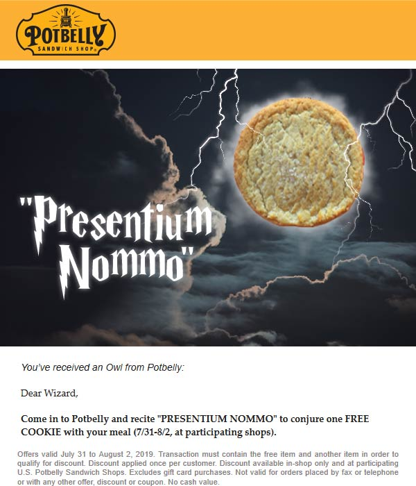 Potbelly coupons & promo code for [January 2021]
