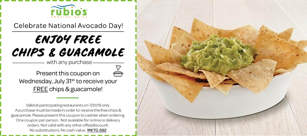Rubios Coupon September 2019 Free chips & guacamole with any order today at Rubios Coastal Grill