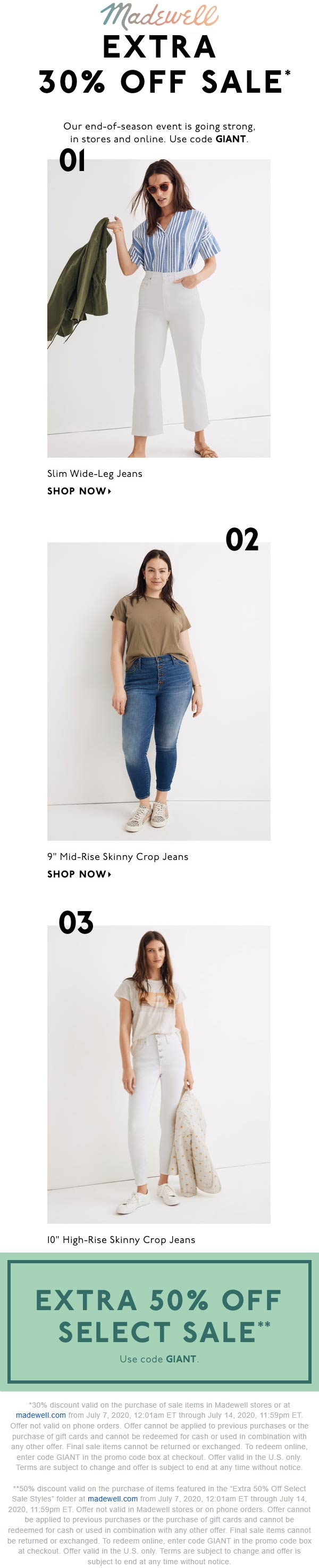 Extra 30-50% off sale items at Madewell, or online via promo code GIANT #madewell
