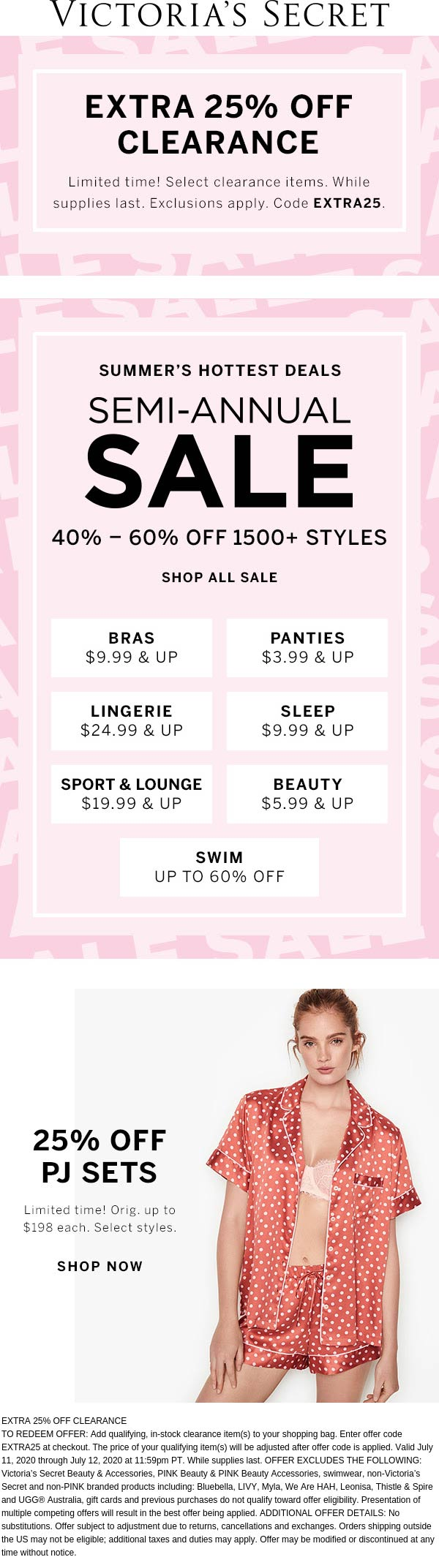 Extra 25% off clearance at Victorias Secret via promo code EXTRA25 #victoriassecret