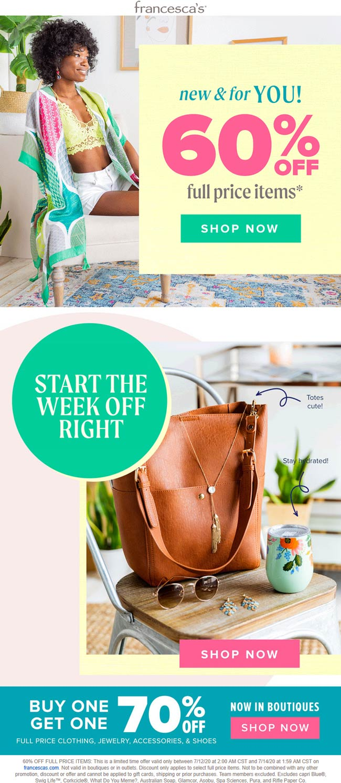 Francescas coupons & promo code for [September 2020]