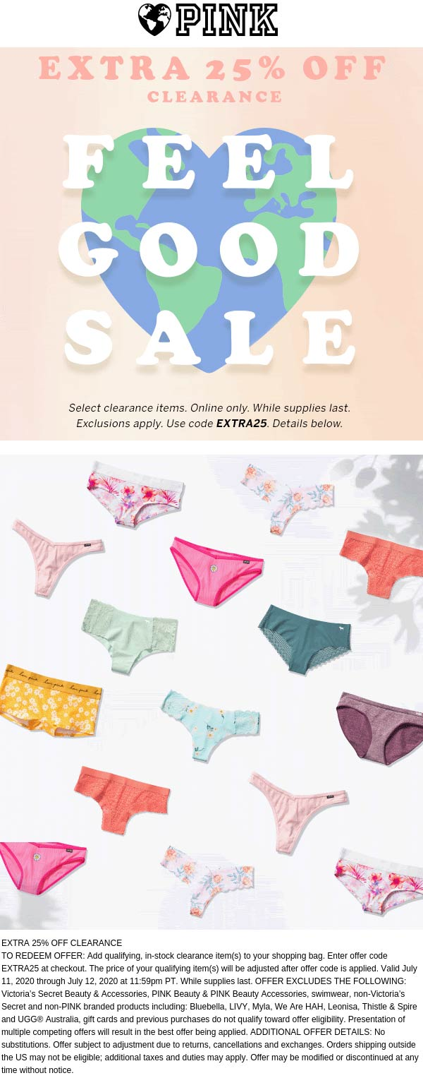 Extra 25% off clearance today at Victorias Secret PINK via promo code EXTRA25 #pink