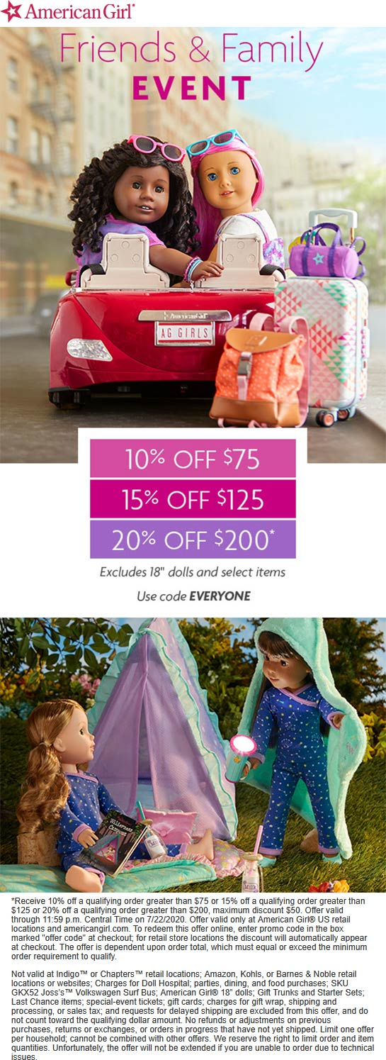 American Girl stores Coupon  10-20% off $75+ at American Girl, or online via promo code EVERYONE #americangirl americangirl spanishgirl englishgirl swedishgirl germangirl russiangirl danishgirl italiangirl frenchgirl finnishgirl britishgirl