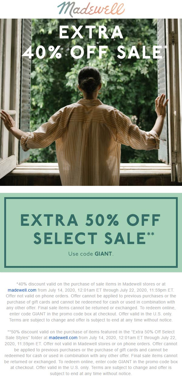 Extra 40-50% off sale items at Madewell, or online via promo code GIANT #madewell