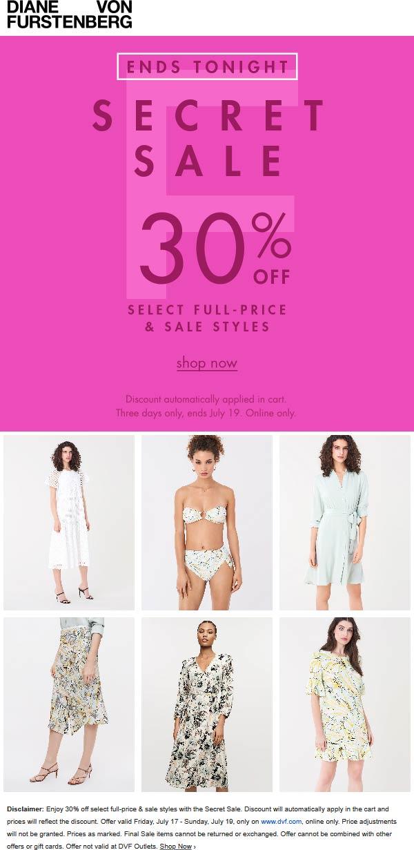 30% off regular & sale items online today at Diane von Furstenberg DVF #dianevonfurstenberg