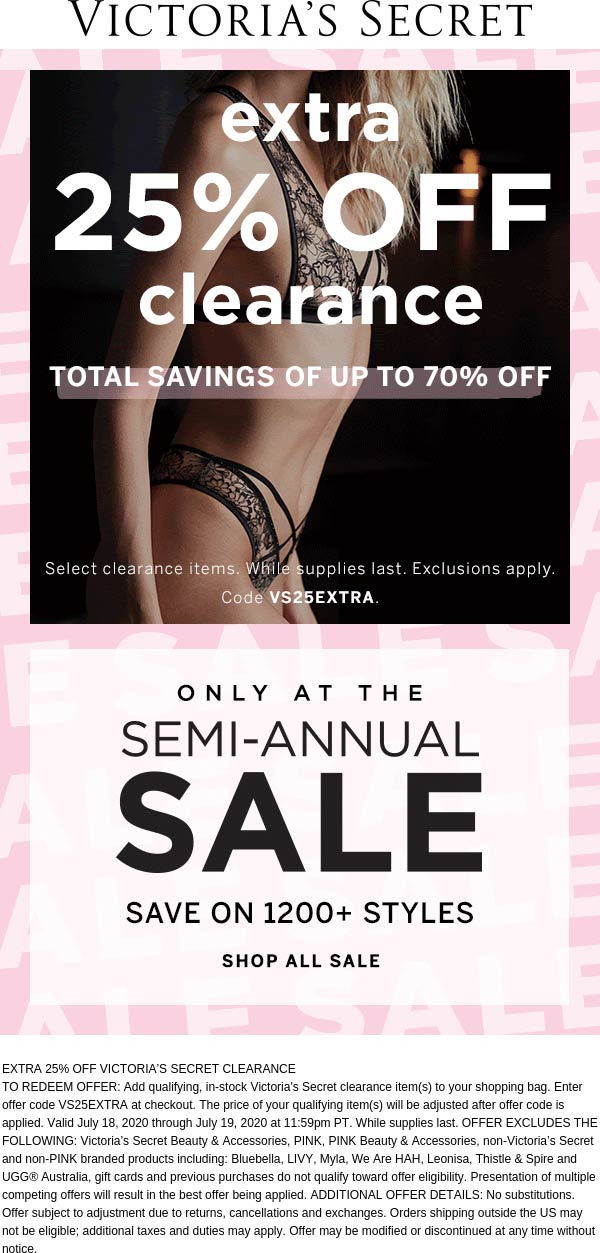Extra 25% off clearance today online at Victorias Secret via promo code VS25EXTRA #victoriassecret