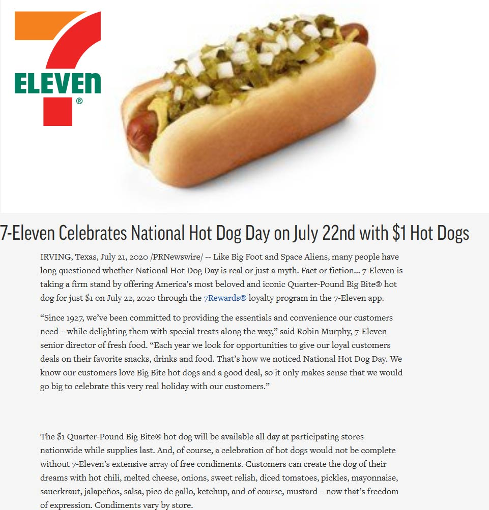 $1 big bite hot dogs today at 7-Eleven for rewards users #7eleven