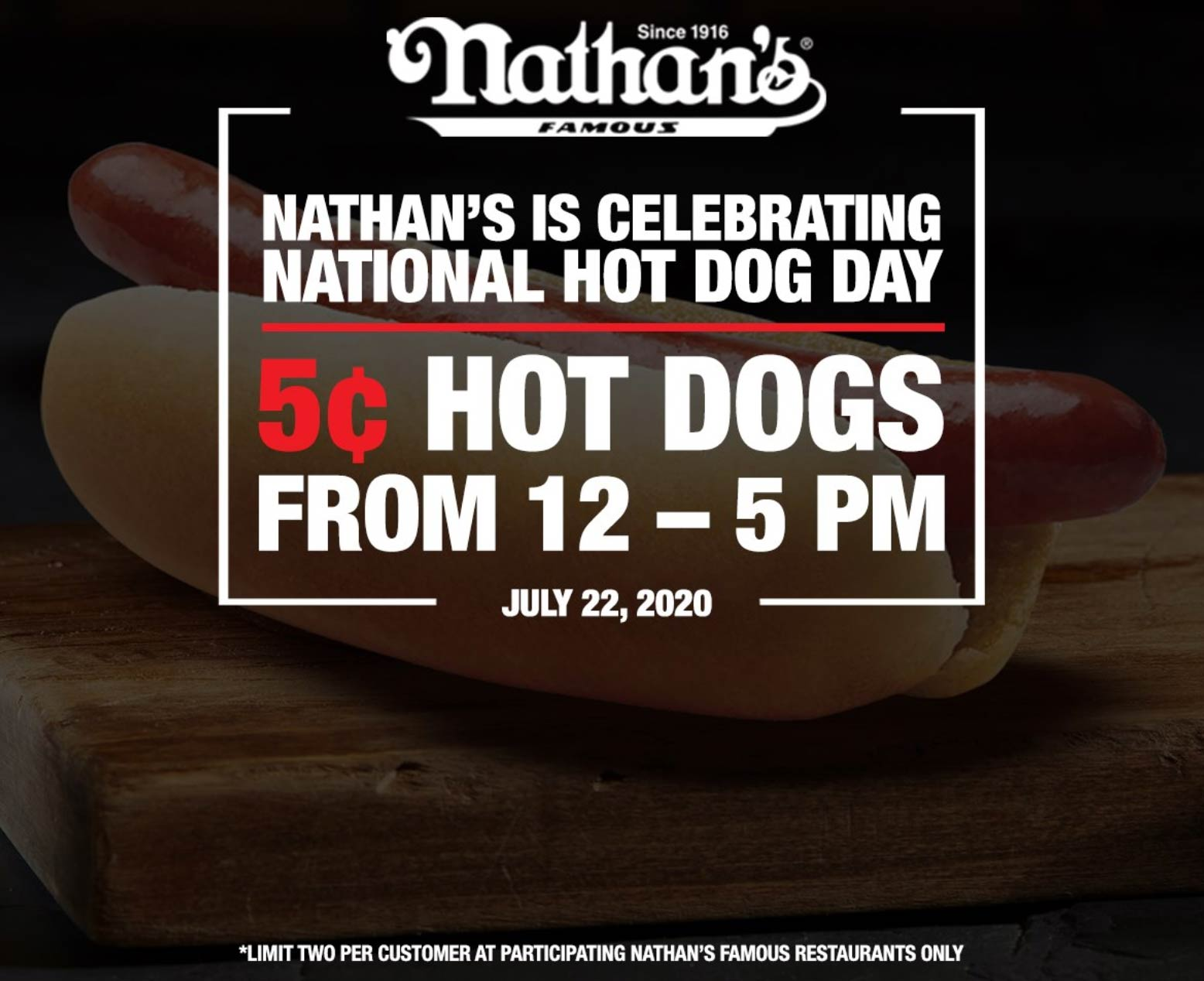 .05 cent hot dogs til 5pm today at Nathans Famous #nathansfamous