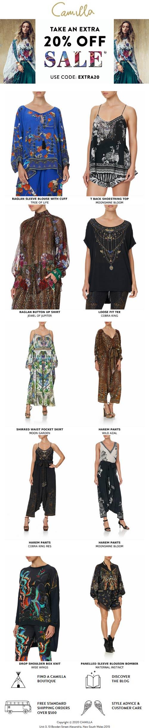 Extra 20% off sale items at Camilla via promo code EXTRA20 #camilla