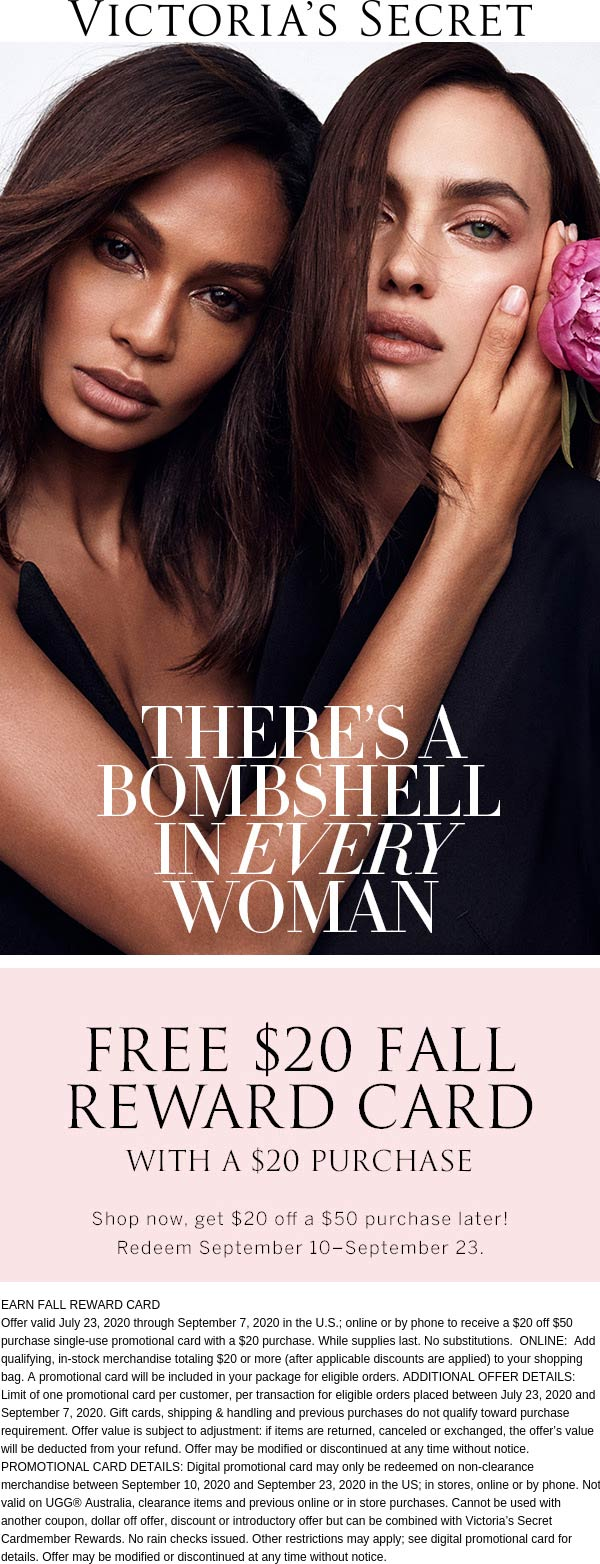 $20 off $50 card with $20 spent at Victorias Secret, ditto online #victoriassecret