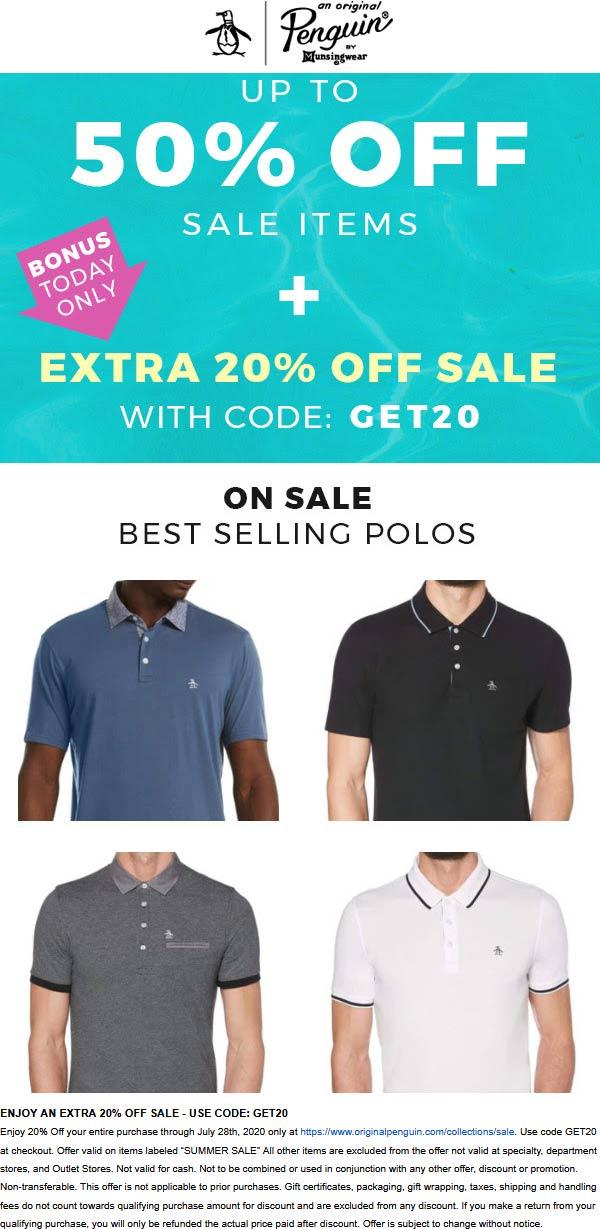 Extra 20% off sale items today at Original Penguin via promo code GET20 #originalpenguin