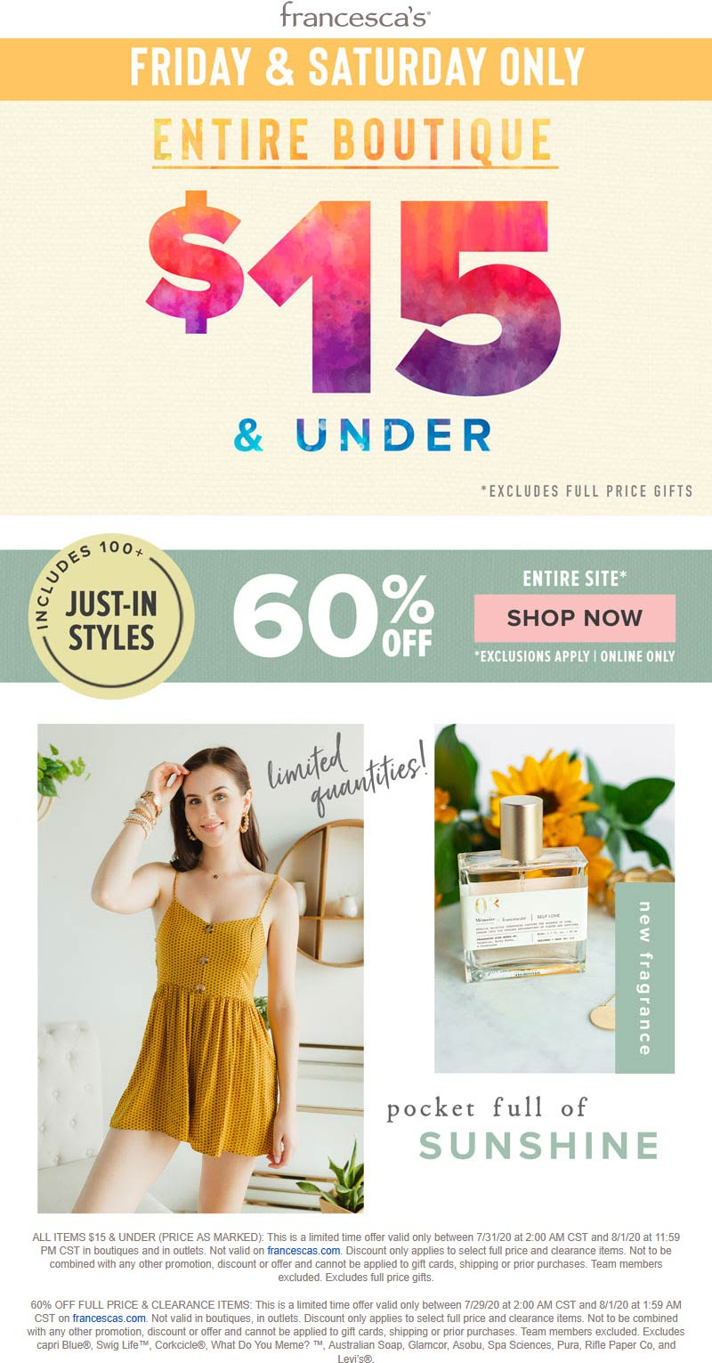 Francescas coupons & promo code for [August 2020]