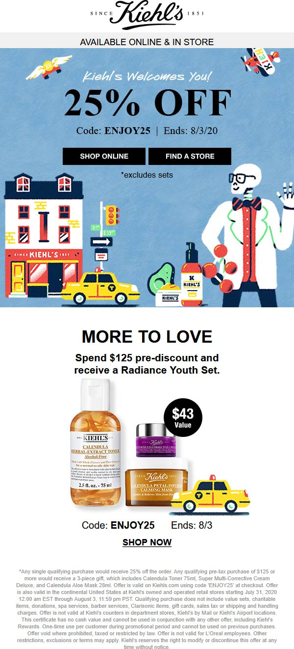 Kiehls coupons & promo code for [August 2020]