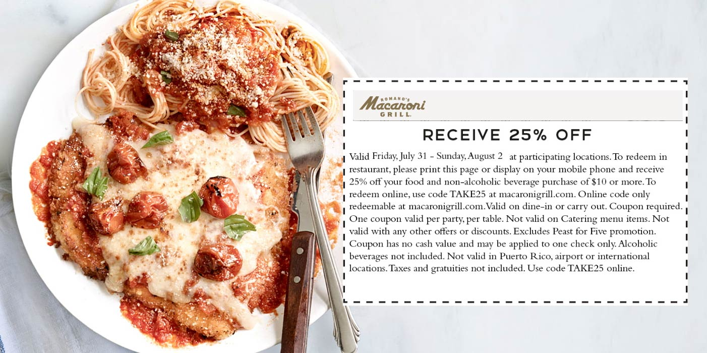 Macaroni Grill coupons & promo code for [September 2020]