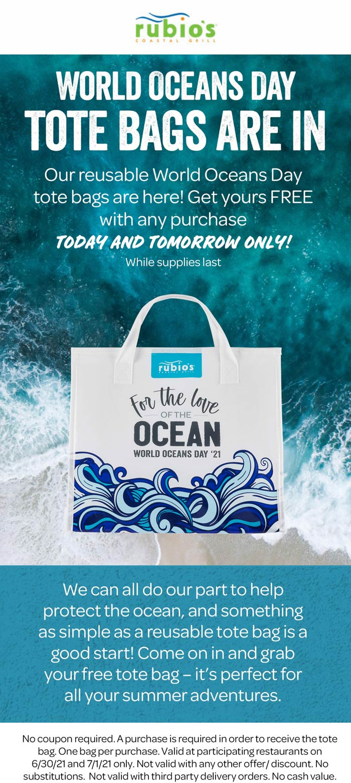 Rubios restaurants Coupon  Free oceans day tote bag with any order today at Rubios restaurants #rubios