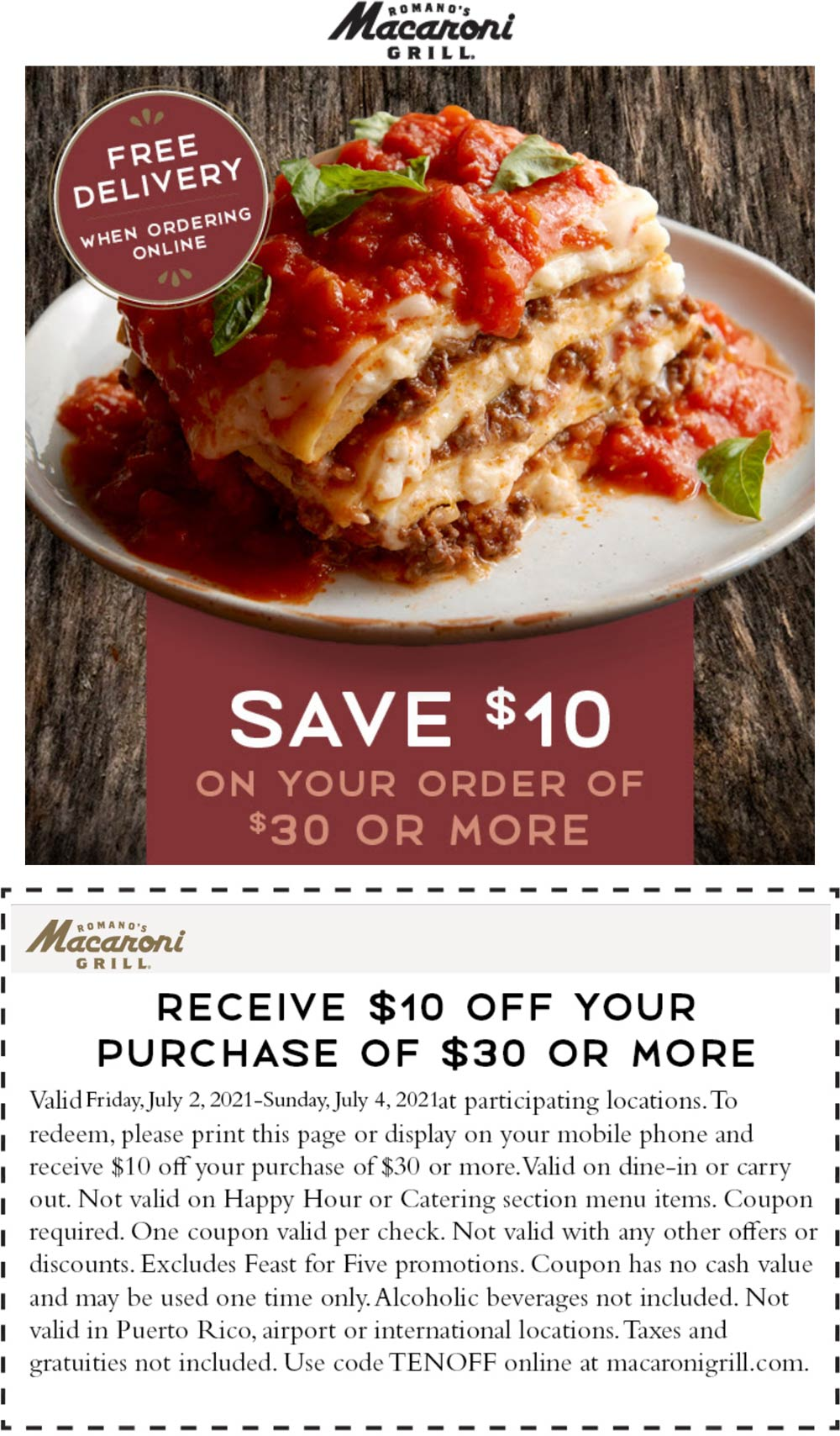 Macaroni Grill restaurants Coupon  $10 off $30 at Macaroni Grill restaurants, or online via promo code TENOFF #macaronigrill