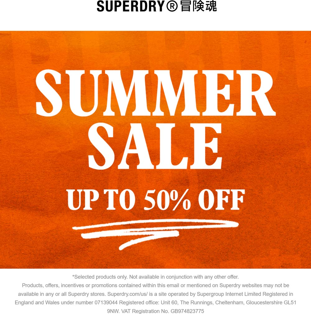 Superdry stores Coupon  Various summer items 50% off at Superdry #superdry