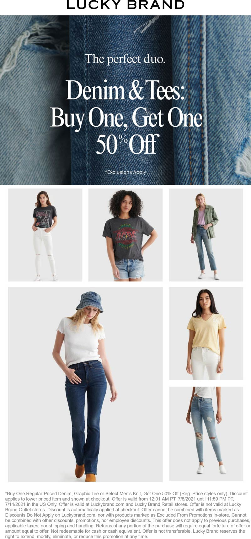 Lucky Brand stores Coupon  Second denim & tee 50% off at Lucky Brand, ditto online #luckybrand