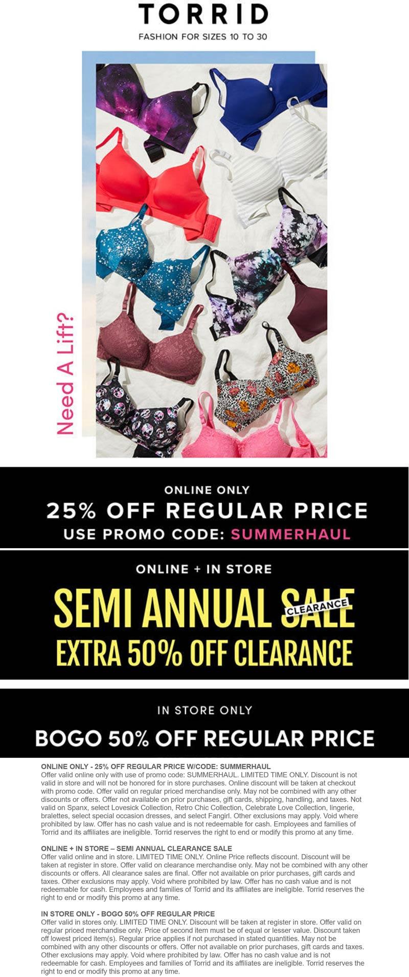 Torrid stores Coupon  Second item 50% off at Torrid, or 25% off online via promo code SUMMERHAUL #torrid