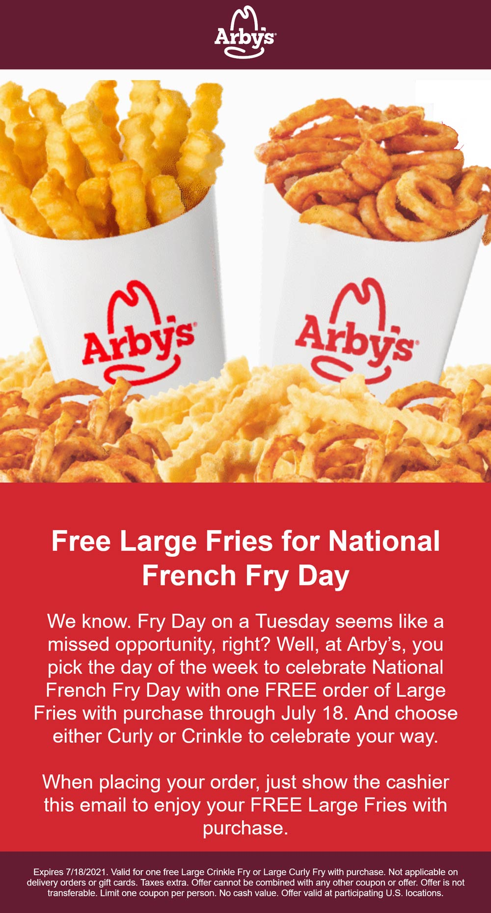 Arbys restaurants Coupon  Free large fries with your order at Arbys restaurants #arbys