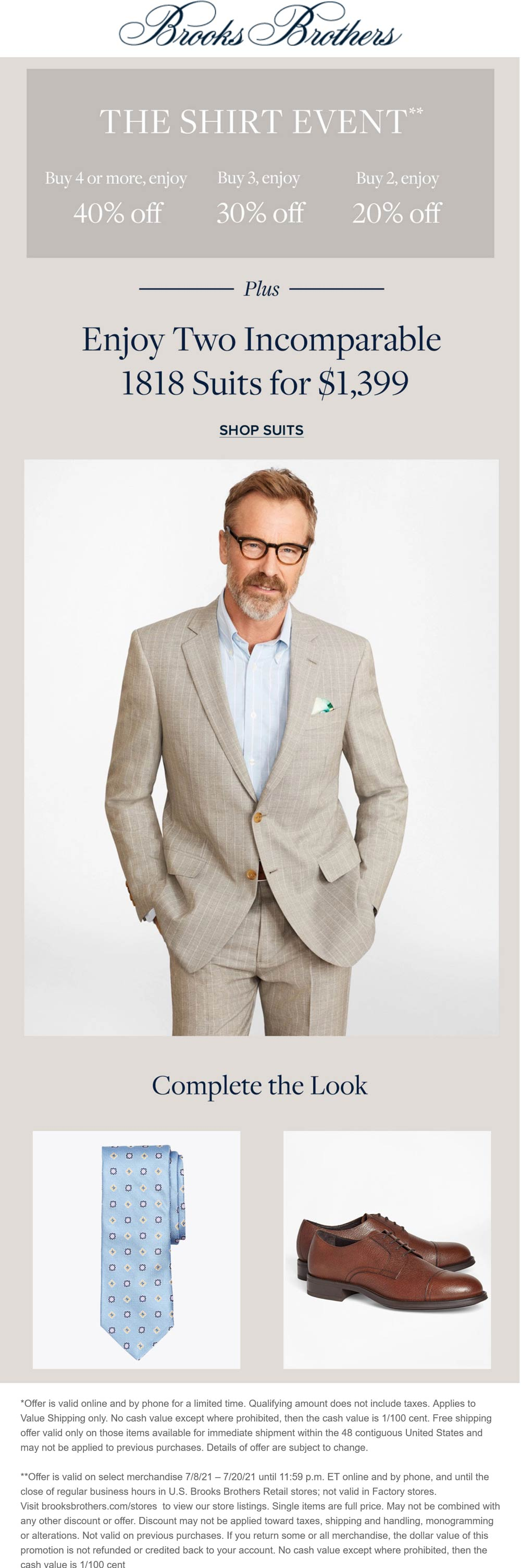 Brooks Brothers stores Coupon  20-40% off 2+ shirts at Brooks Brothers, ditto online #brooksbrothers