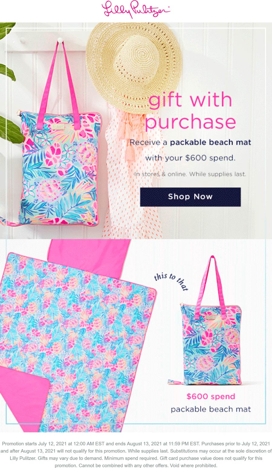 Lilly Pulitzer stores Coupon  Free packable beach mat with $600 spent at Lilly Pulitzer, ditto online #lillypulitzer