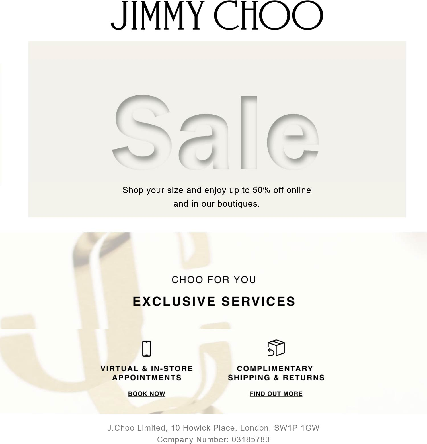 Jimmy Choo stores Coupon  50% off shoe sale going on at Jimmy Choo, ditto online #jimmychoo