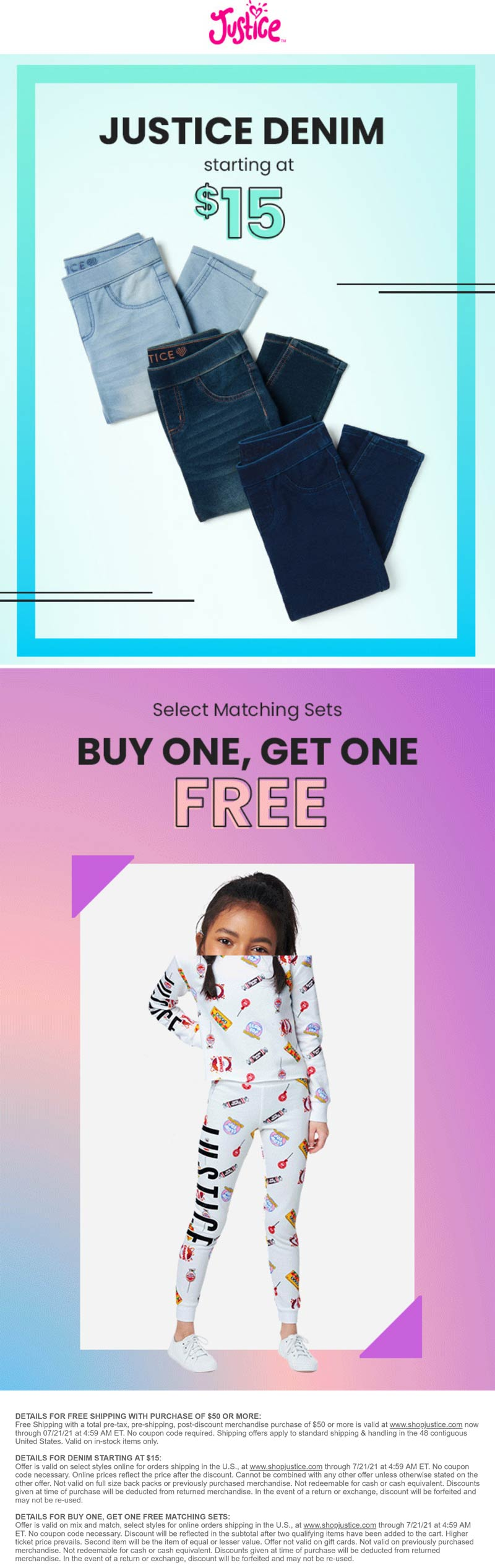 Justice stores Coupon  Second matching set free & $15 denim at Justice #justice