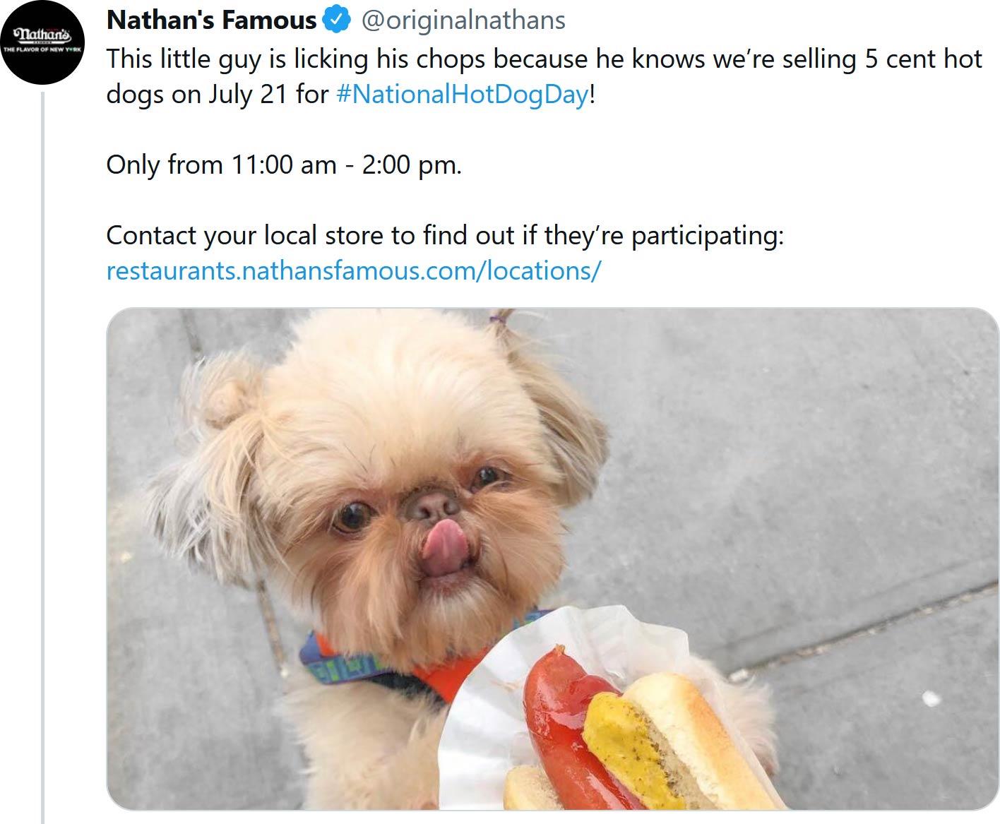 Nathans Famous restaurants Coupon  .05 cent hot dogs Wednesday at Nathans Famous restaurants #nathansfamous