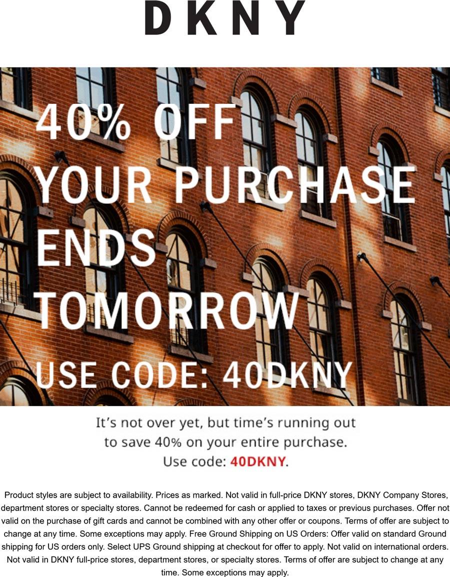 DKNY stores Coupon  40% off today at DKNY via promo code 40DKNY #dkny