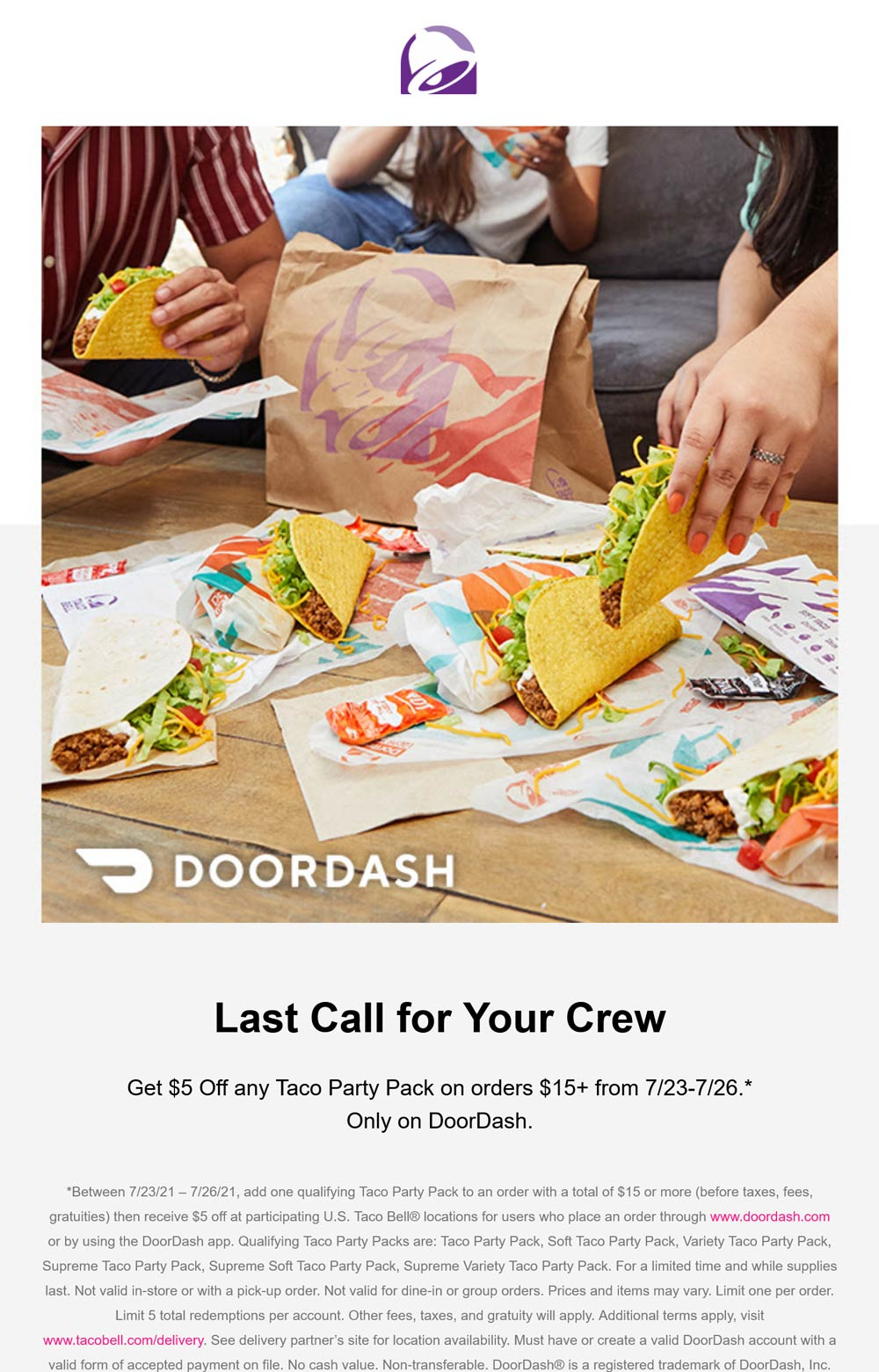 Taco Bell restaurants Coupon  $5 off party pack tacos delivered today at Taco Bell #tacobell