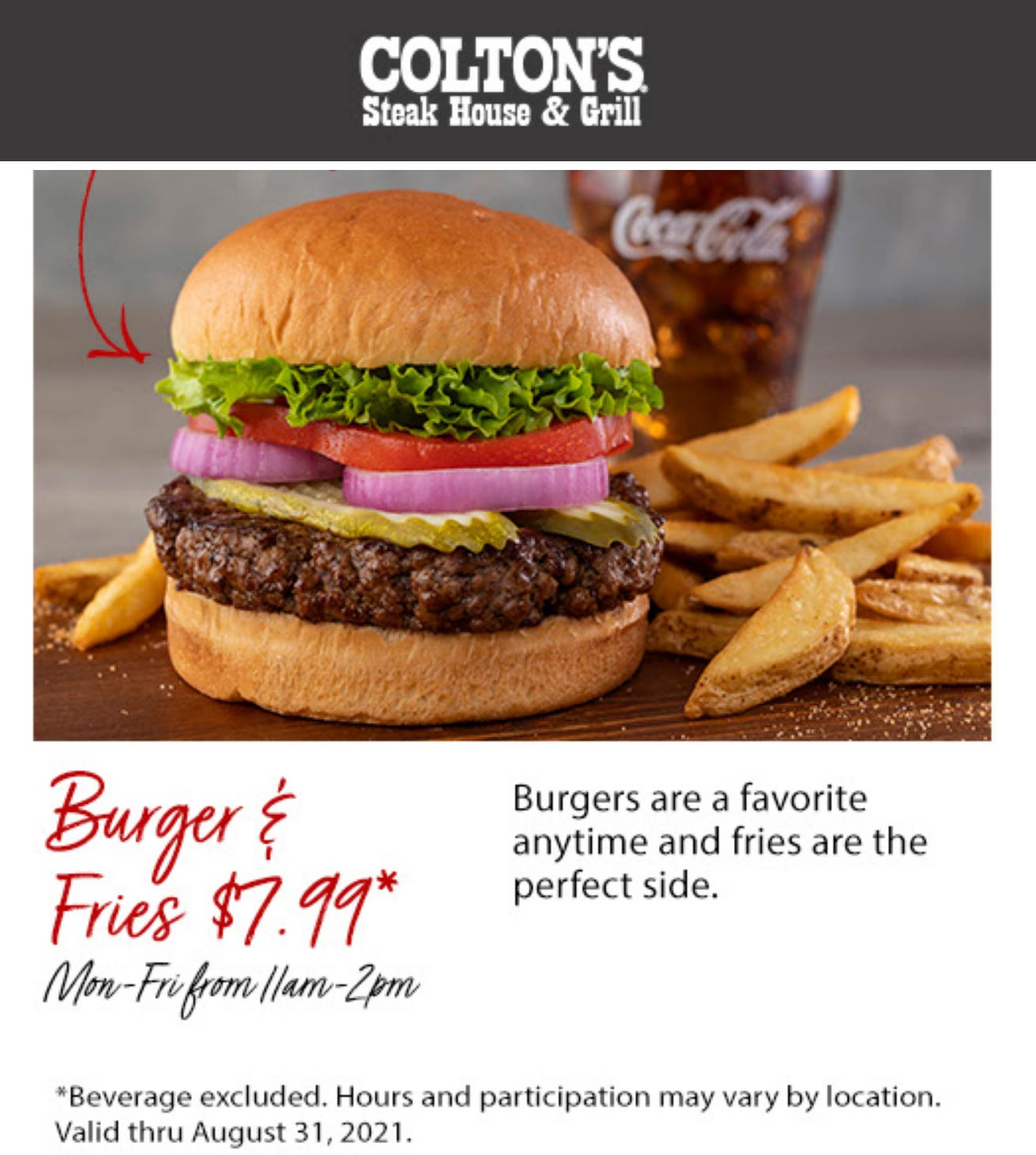 Coltons Steak House restaurants Coupon  $8 cheeseburger + fries weekdays at Coltons Steak House & Grill #coltonssteakhouse