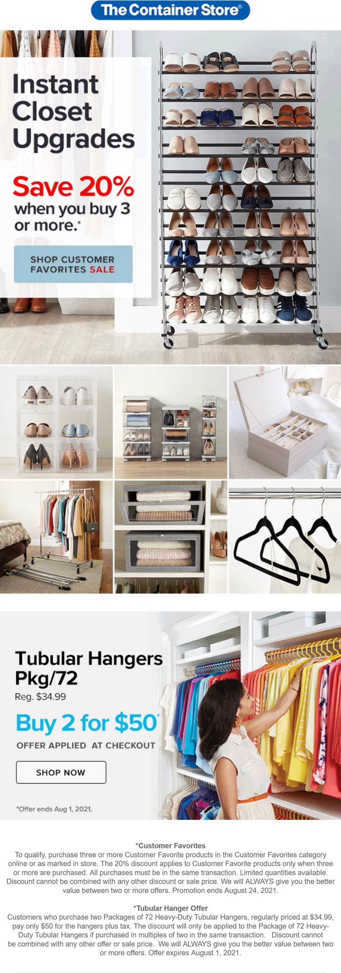 The Container Store stores Coupon  20% off 3+ customer favorites at The Container Store #thecontainerstore