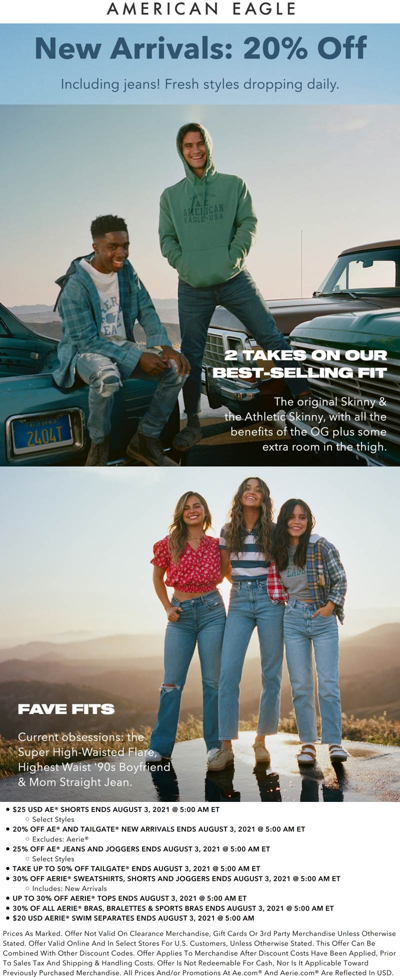 American Eagle stores Coupon  20% off jeans & new arrivals at American Eagle, ditto online #americaneagle