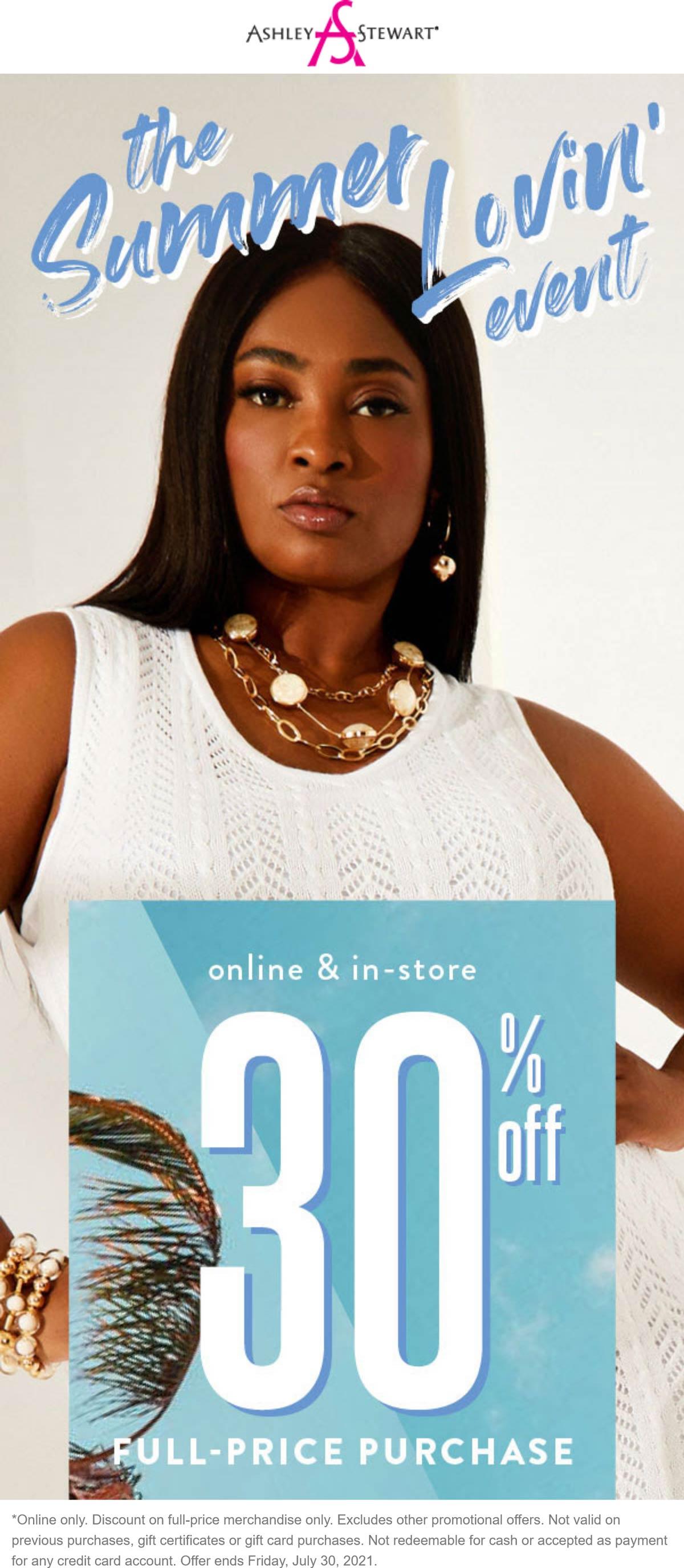 Ashley Stewart stores Coupon  30% off today at Ashley Stewart, ditto online #ashleystewart