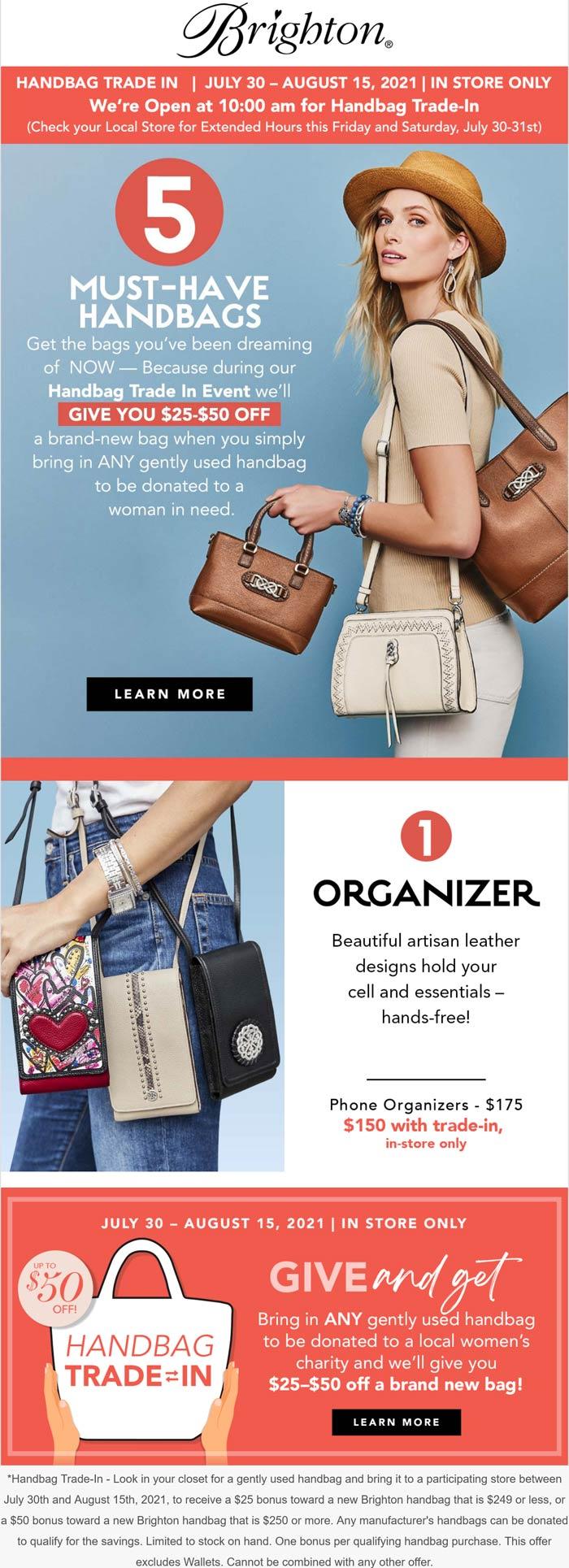 Brighton stores Coupon  Handbag trade in for $25-$50 off new at Brighton #brighton