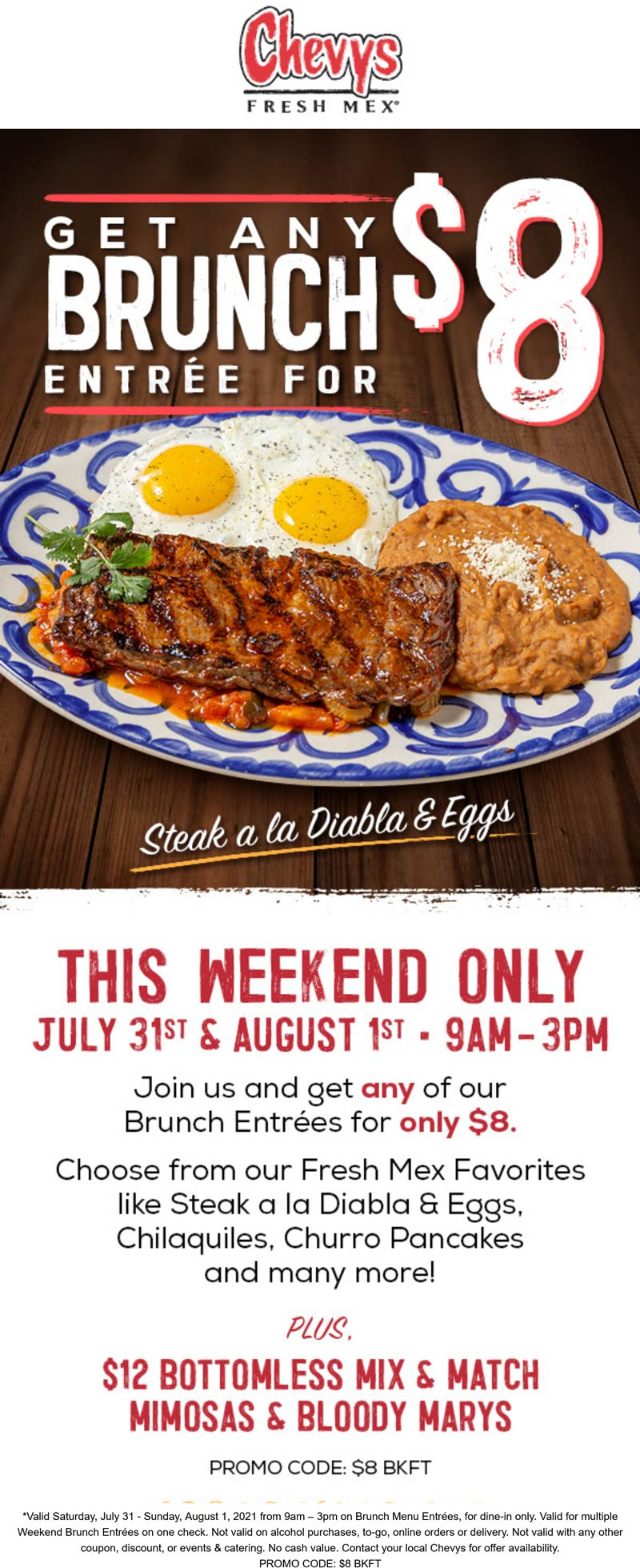 Chevys restaurants Coupon  $8 brunch entree at Chevys Fresh Mex #chevys