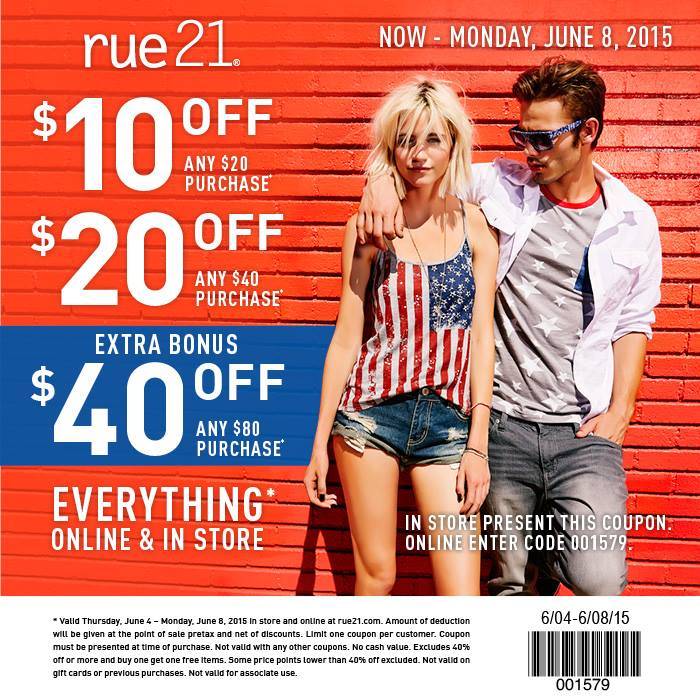 Rue21 Coupon May 2020 $10 off $20 & more at rue21, or online via promo code 001579