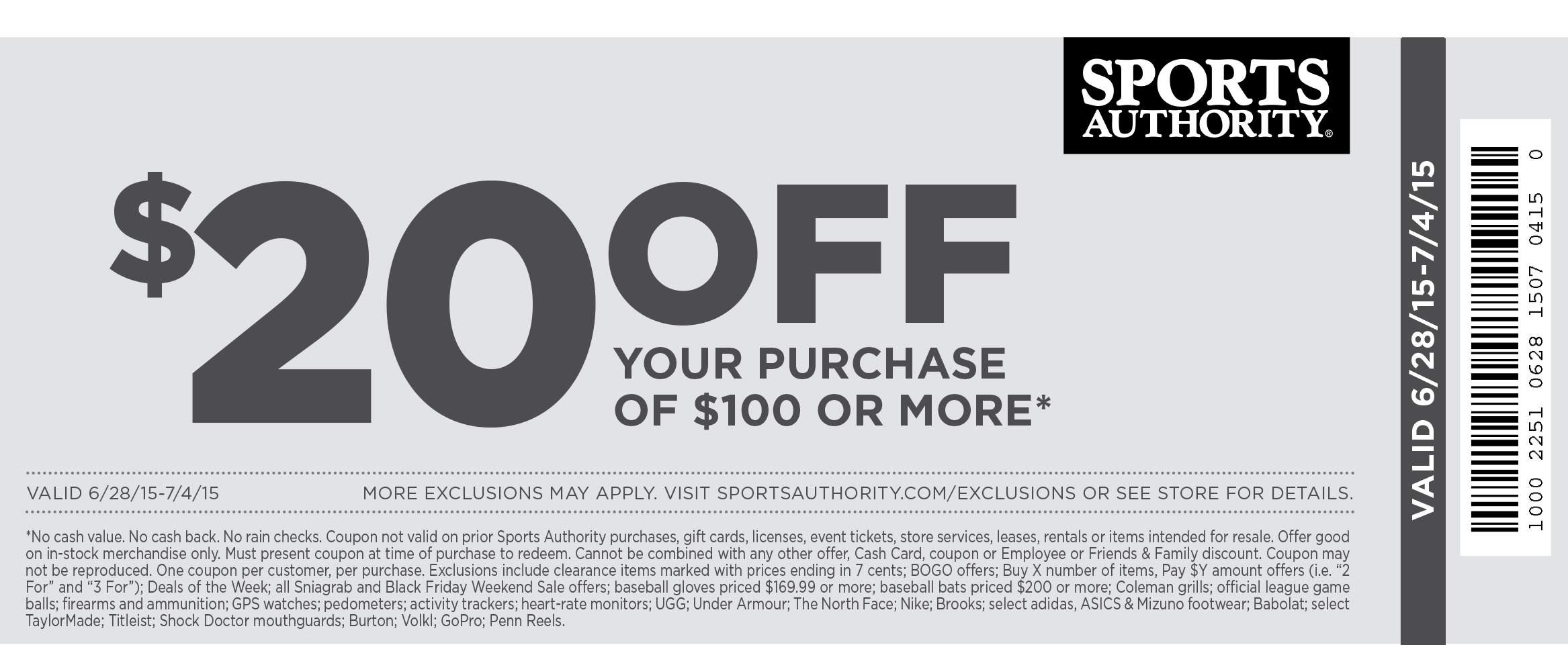Sports Authority Coupon February 2020 $20 off $100 at Sports Authority, ditto online with free shipping
